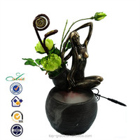 resin gorgeous lady flower pot table water fountain
