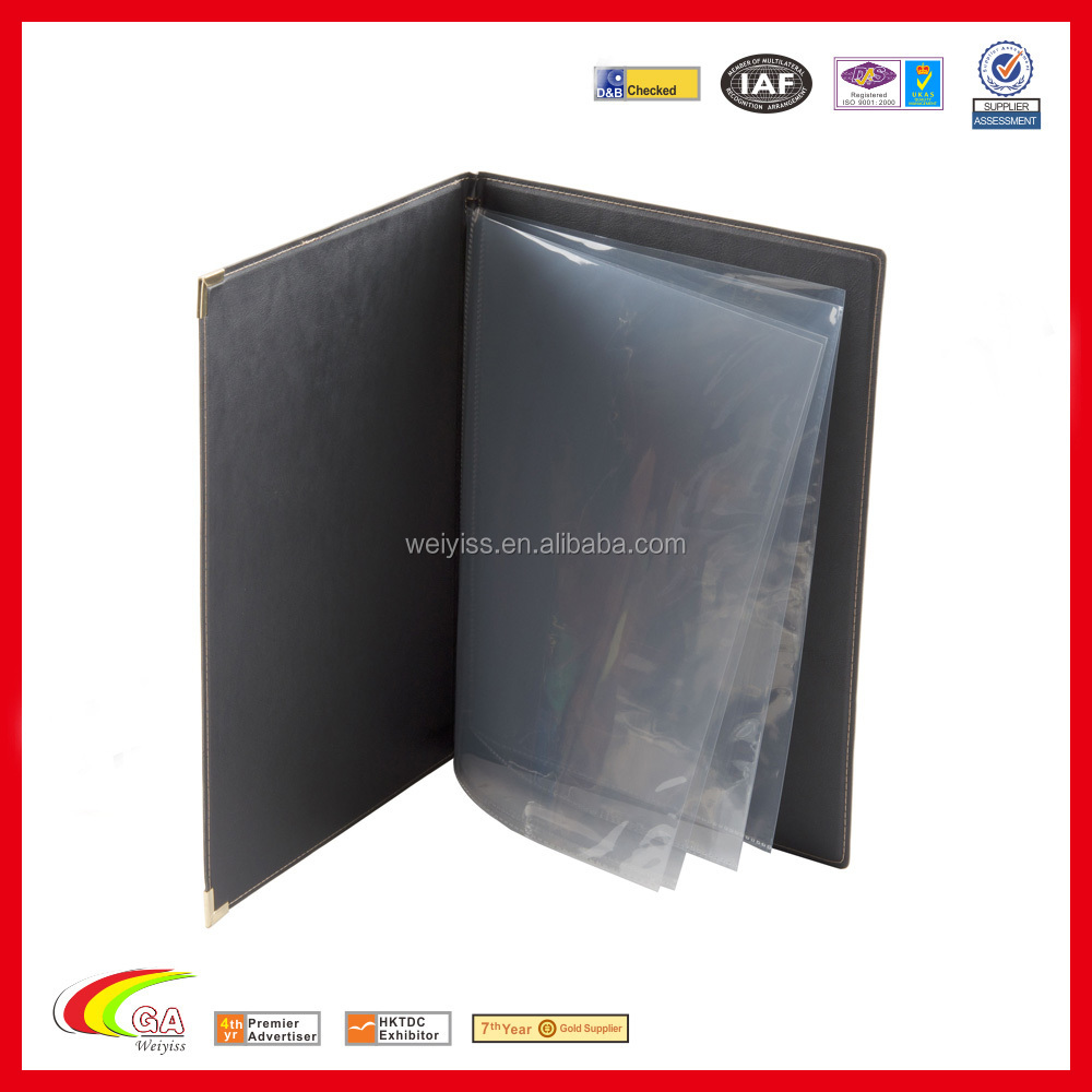 Menu Holder A4 Plastic Sheet Real Leather Restaurant