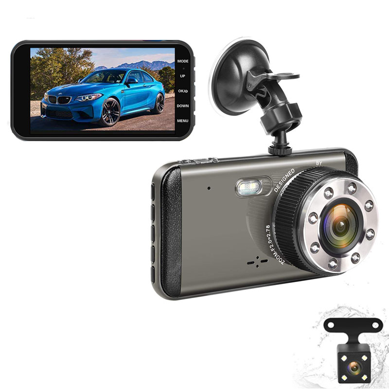 EKLEVA Super Night Vision Cam Traço Câmera Do Carro 4 Polegadas IPS Tela FHD 170 Wide Angle Dual Lens Dashboard DVR gravador de Vídeo do carro