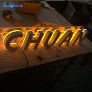 Grandview gold back lit led channel letter/ logo sign for shop