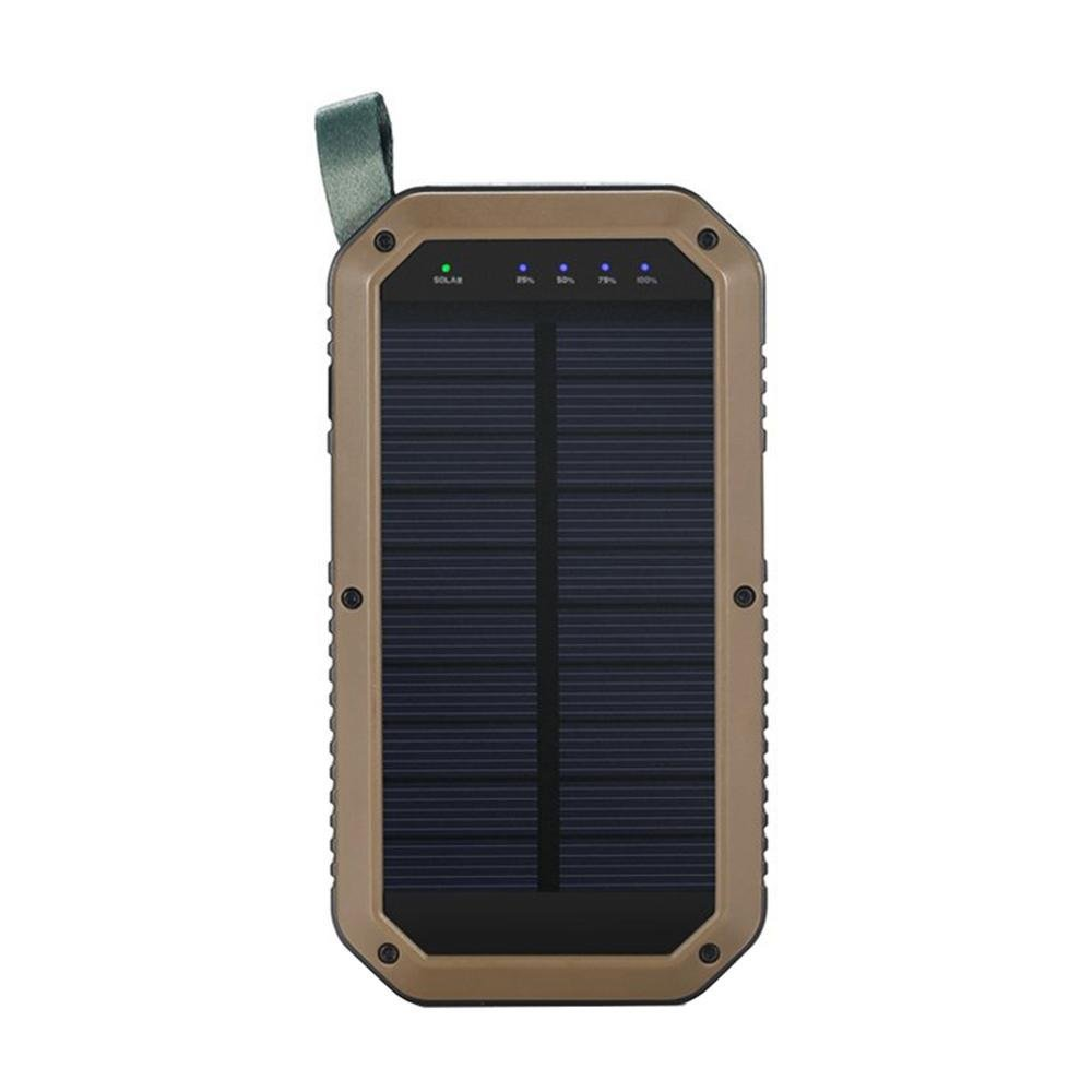 PAWACA Solar Charger,Portable 8000mAh Solar Battery Charger Power Bank Waterproof Shockproof 3-Port USB Solar Powered Phone Charger with 21LED Light for IPhone, IPad, Android Smartphones