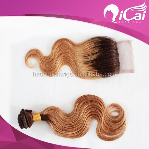 Ombre color peruvian hair weave bundle with closure