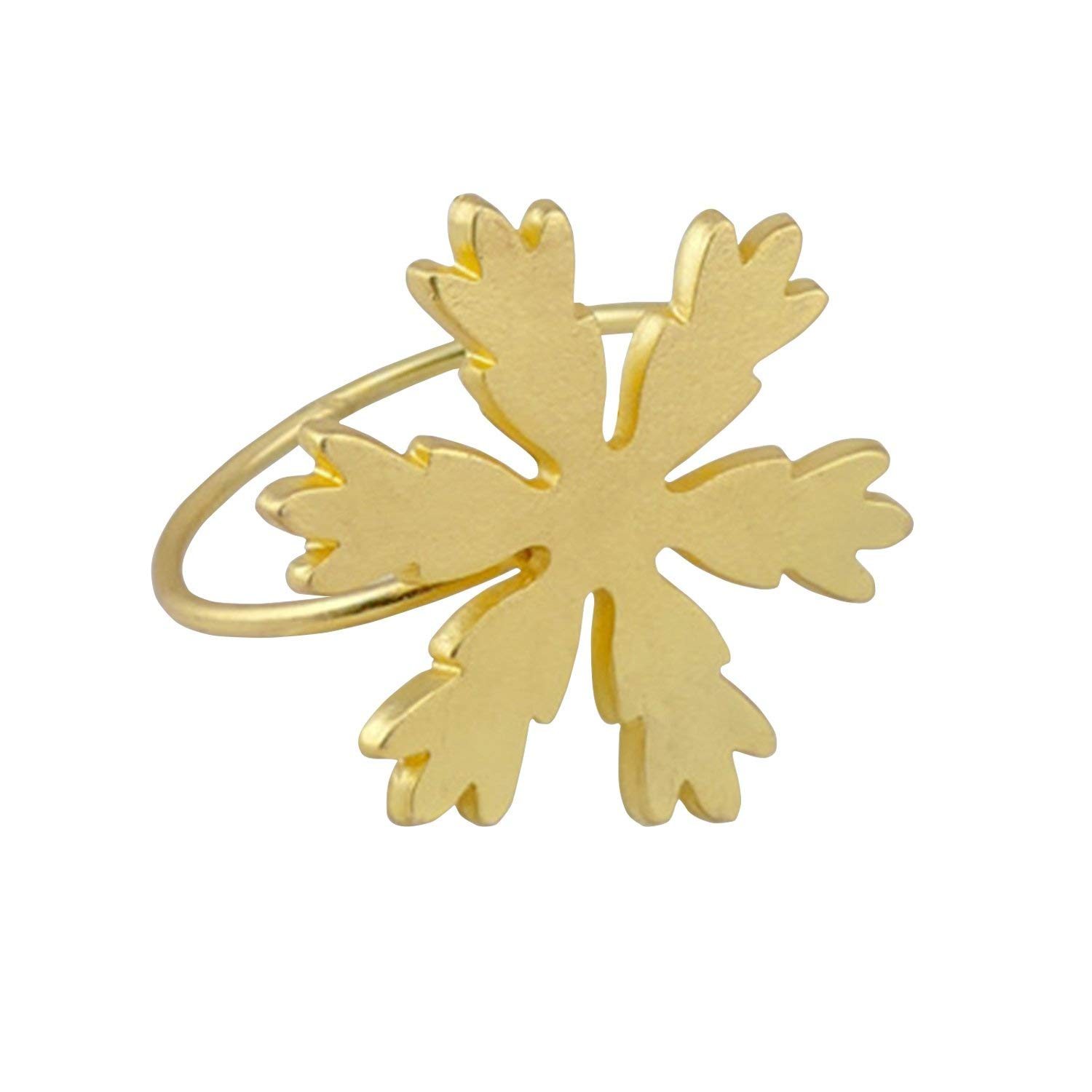 Elehere Snowflake Napkin Rings Set of 4 Gold for Holiday Christams Gift Wedding Party Table (H2 Gold, Set of 4)