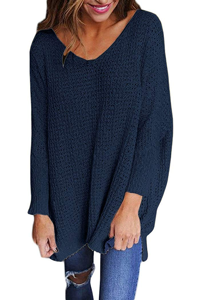 Get Quotations · Women s Oversized Knitted V Neck Loose Casual Pullovers Sweater  Jumper Top 31abb047f