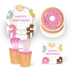 MM008 Donut party Tableware set party table supplies for kids birthday and party decoration 2019 new design