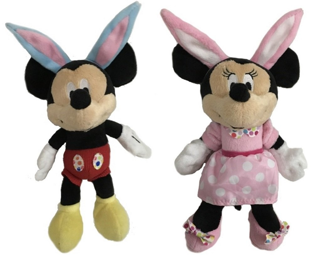 Disney Baby Mickey & Minnie Mouse Easter Bunny Plush Rattle 8""