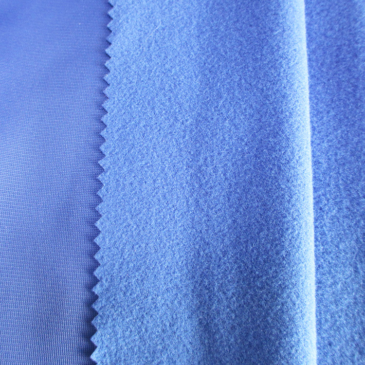 One side brushed polyester warp knitted plain cloth for tracksuits