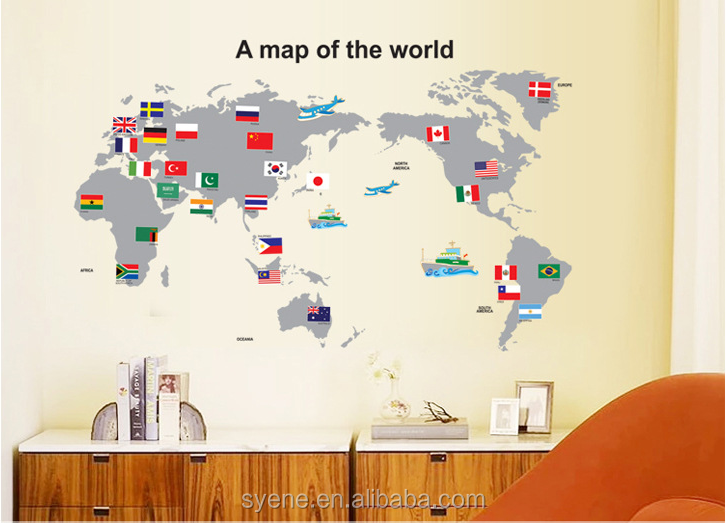 Children Kids Room World Map Wall Sticker Home Decoration Colorful World Map  Wall Decal Nursery Room