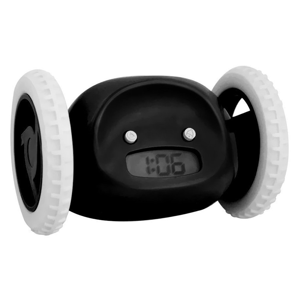 Agile-shop Funny Runaway Alarm Clock on Wheels Cute LCD Alarm Clock for Heavy Sleepers/Kids/Lover/Family etc. (Black)