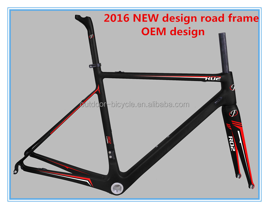 2016 NEW OEM design carbon road bike frameset Super light Toray road bicycle di2 frameset 3k/12k/UD finish