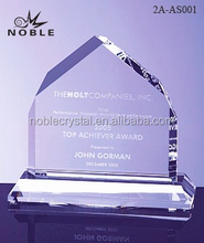 Custom Engraved Mountain Shaped Obelisk Crystal Plaque Trophy Award With Base.