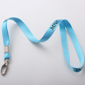 high end light blue plain lanyard/screen printed strap