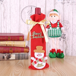modern home ornaments New Merry Christmas snowman wine bottle cover set Santa Claus bottle sweater clothes Xmas home ornament