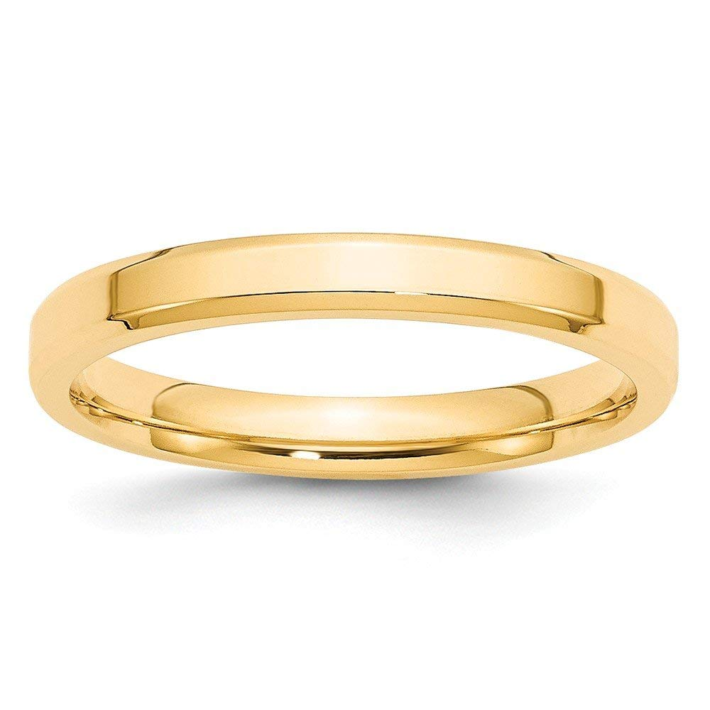 Perfect Jewelry Gift 14KY 3mm Bevel Edge Comfort Fit Band Size 8