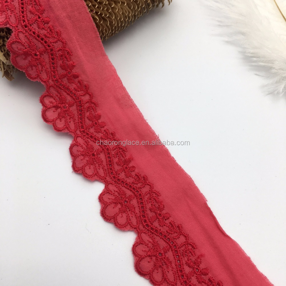 4cm keqiao wholesale red flower crochet hand embroidery lace trim