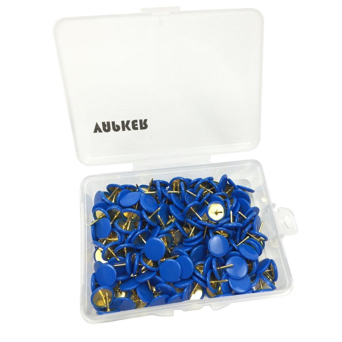 VAPKER 200 PCS Thumb Tacks Blue Plastic Round Head Thumbtacks