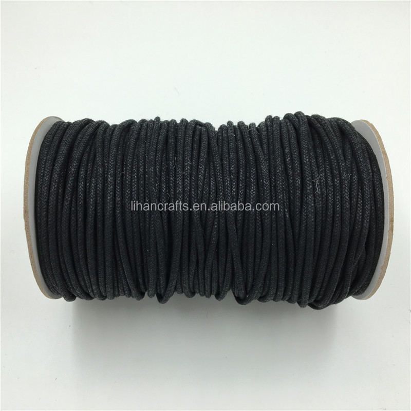Custom 2.5MM Braided Waxed Polyester Cord,Waxed Cotton Cord for Bags