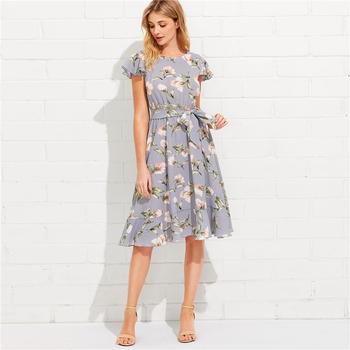 8b481c4bba67f Tie Neck Ruffle Hem Calico Dress 2018 Summer Fit And Flare Short Dress  Women Cap Sleeve A Line Floral Vacation Dress - Buy Floral Dress,Summer  Dress,A ...