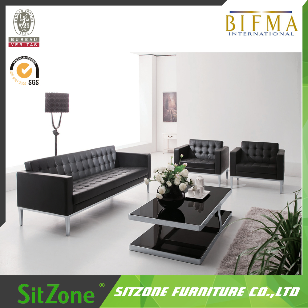 Simple Design Office Wooden Frame Stainless Steel Sofa Set