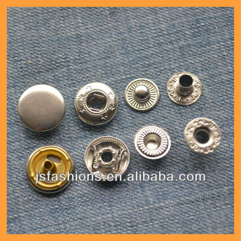 15mm metal spring snap button four parts snap button