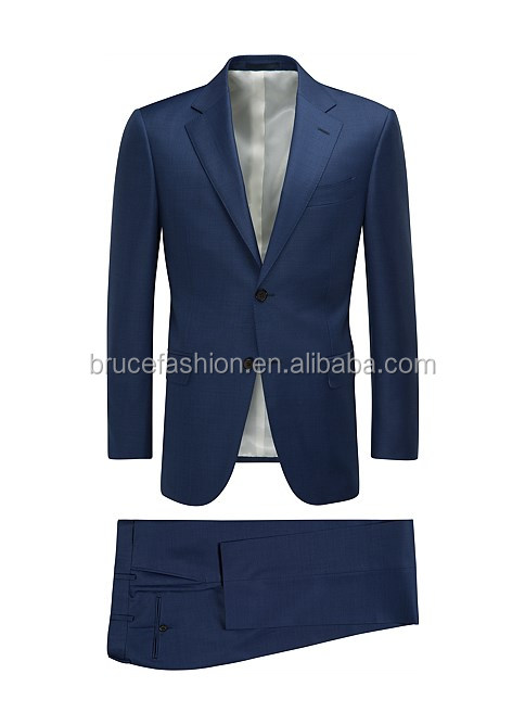 Blue Plain wool fabric suit for men business suit tailored high quality made in China