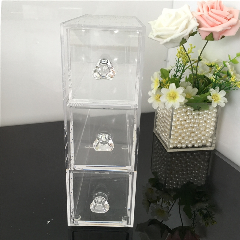 Acrylic Jewelry And Cosmetic Makeup Organizer With 3 Drawer