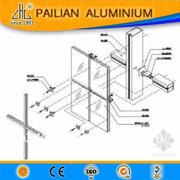 Stick System Curtain Wall Aluminum Glass Wood Mullion Aluminium Transom Mullion Systems For