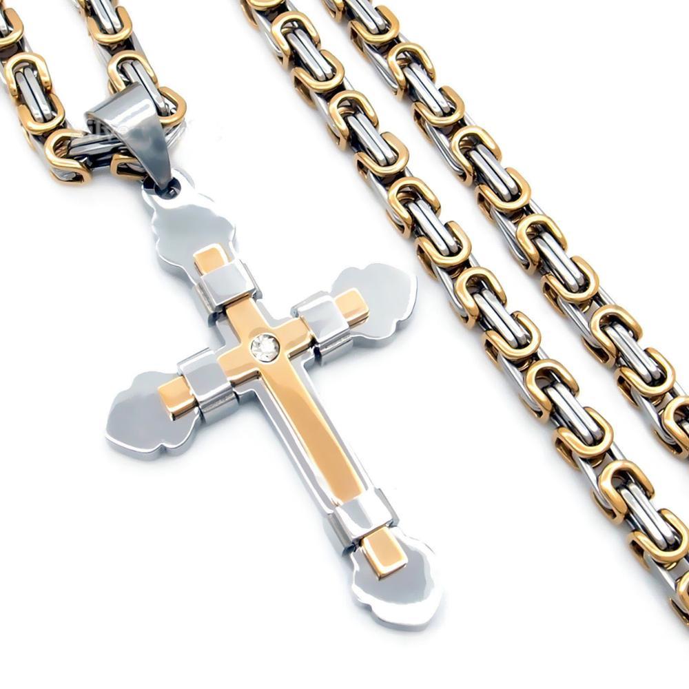 209ef78acfe2 Davieslee joyería para hombre bizantino de Cruz de acero inoxidable  colgante collar Cadena de 22 pulgadas