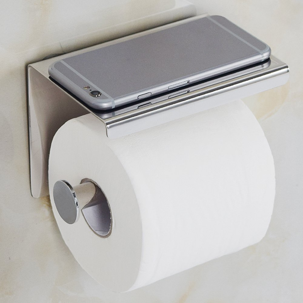 Toilet Paper Phone Holder, - Wall Mount Bathroom Tissue Holders With Cellphone Storage Shelf 1.21 Lb - Brushed Aluminum - 304 Stainless Steel Roll Paper Rack - Key, Ashtray, Watch, Glasses, Hardware