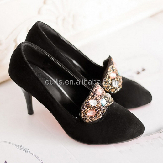 2015 Black And Red Diamond-studded Crystal High Heel Pump Shoes ...