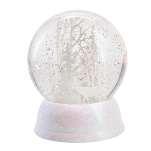 Christmas globe deer decor decorative plastic acrylic lighted snow globe