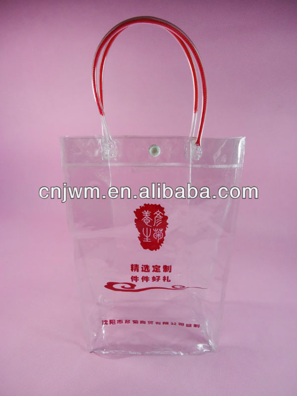 Promotional pvc gift bag with plastic snap and pipe handles