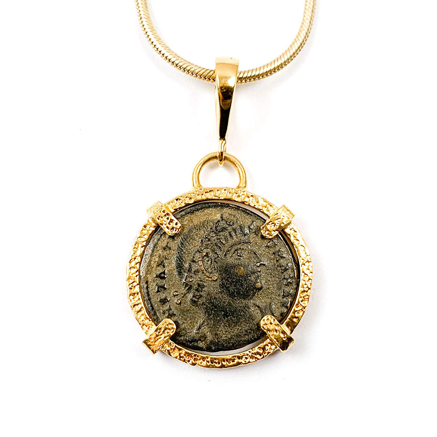 1c13bfb8016b Get Quotations · Genuine Ancient Roman Coin Charm Necklace with 14kt Gold  Filled Snake Chain - 16 inches Long