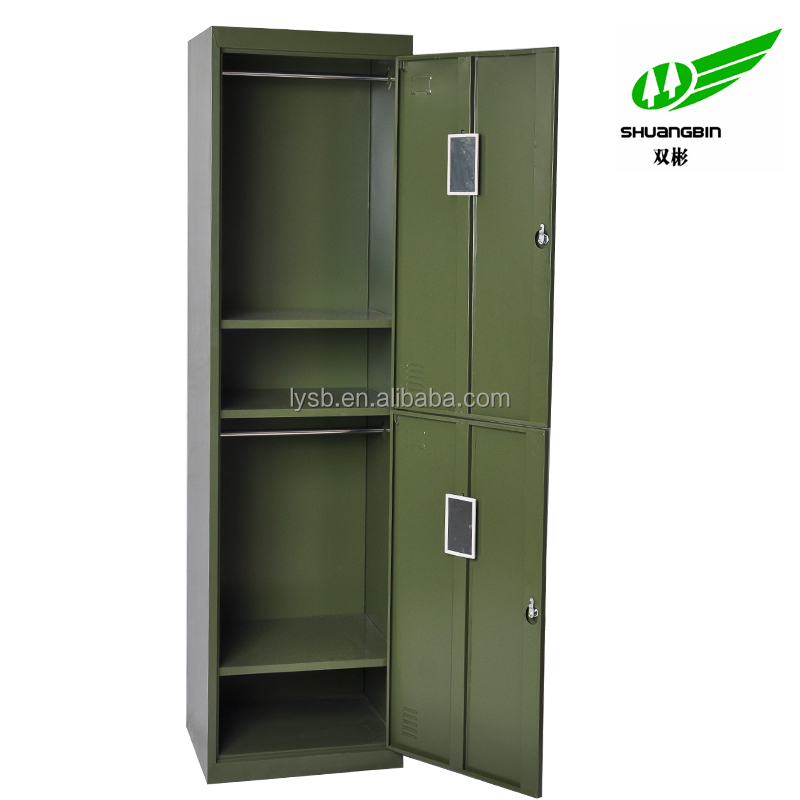2 door green military steel metal locker/small package 2 door locker for army