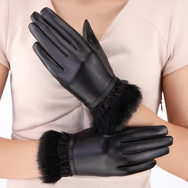 women wearing black patent rabbit fur leather glove