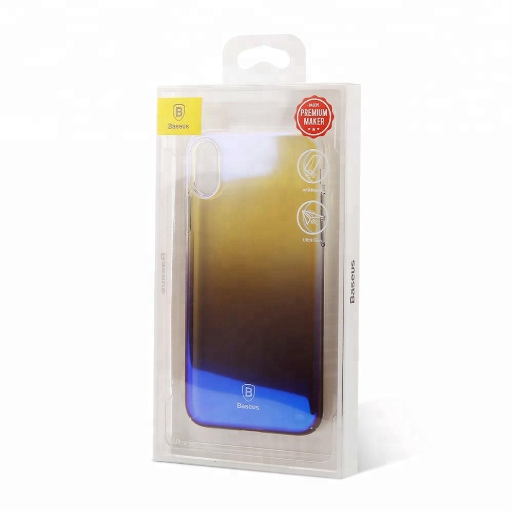 Newest Products Baseus Glazed Light Series Transparent PC Back Cover Gradient Color Phone Case for iPhone X