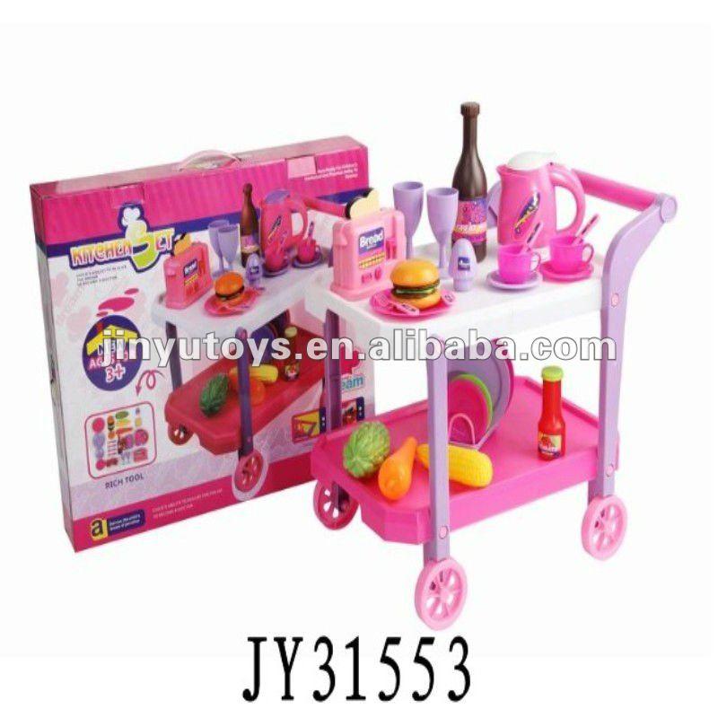venta caliente de los cabritos juego de cocina vajilla de juguete carro de juguete