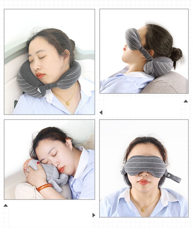 wholesale cotton fabric microbeads  travel compress pain relief kit napping rest eye mask and neck pillow set