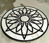 Black marble and volakas white stone round tile medallion