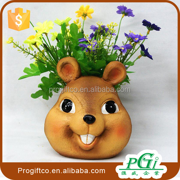 Resin rabbit animal figurine flower pots Decor home & garden