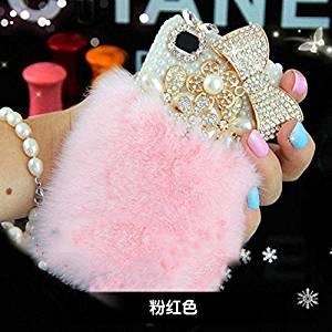 e47b27f4ac0 Get Quotations · iPhone 7 Case - LU2000 Furry Rex Rabbit Fur Fluffy Phone  Case Bling Crystals Diamond Sparkle