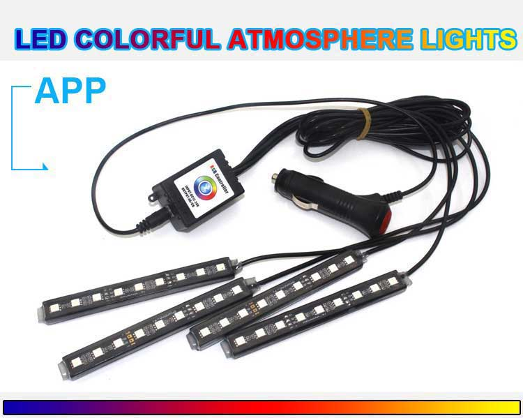 App bluetooth control auto foot pedal ambient light 9w 5050smd led atmosphere lamp