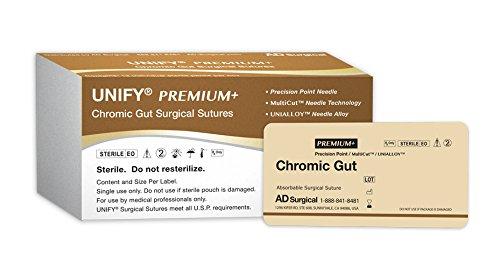 """UNIFY Premium+ Surgical Chromic Gut Sutures. #PSC-518R13 Absorable. Mono Brown. Size 5/0. 18""""/45cm Thread. 13mm 3/8 Circle R/C Needle (P-3/P-13). 12 Foil Packs/Box."""