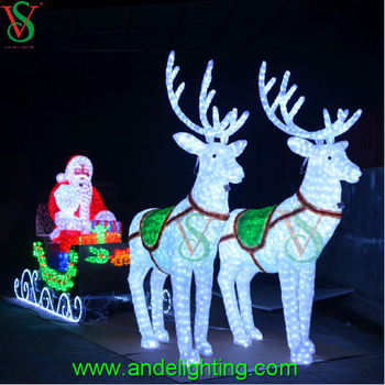 24v large outdoor christmas light with santa and reindeer - Deer Christmas Lights