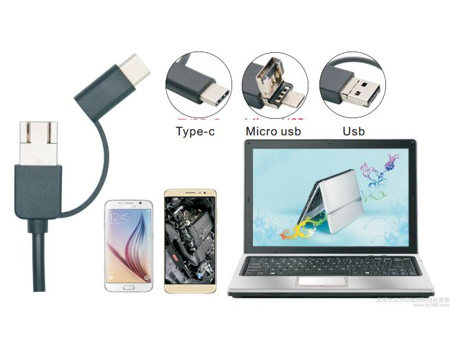 2018 Newest 5.5mm 7mm 8mm 3 in 1 USB Micro USB Type C Endoscope Camera Android Endoscope