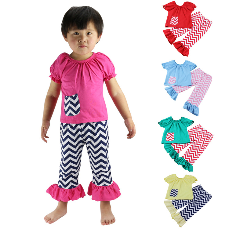 Lateset Frock Designs Heart Shape Ruffle Shirt and Icing Stripes Pant Set Valentines Boutique Outfit Wholesale Children Clothing