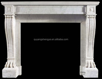 Wall Mounted Electric Fireplace Frame Made By White Marble