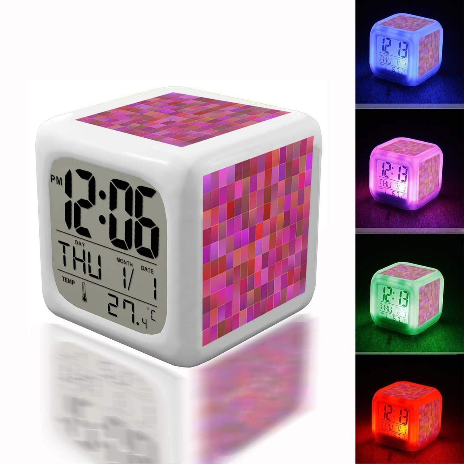 Alarm Clock 7 LED Color Changing Wake Up Bedroom with Data and Temperature Display (Changable Color) Customize the pattern-546.shapes abstract pink background abstract bright