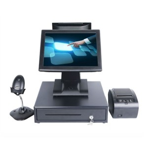 High quality dual touch screen all in one windows/pos terminal with pos thermal printer and MSR