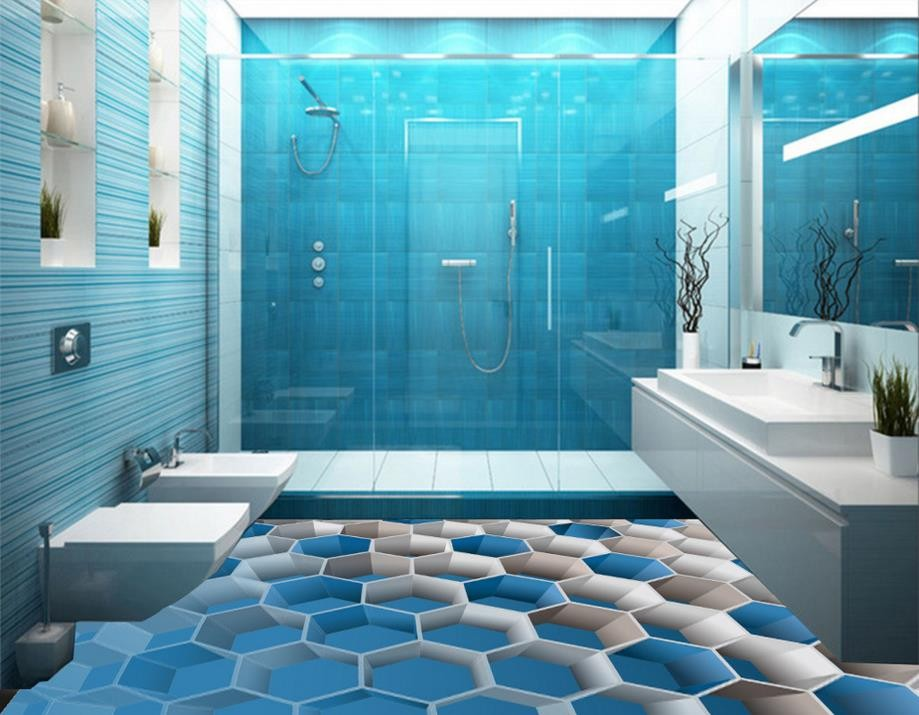 Baldosas de suelo 3D para baños, pintura de suelo ...